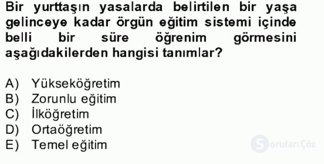 Türk Eğitim Tarihi Bahar Final 7. Soru