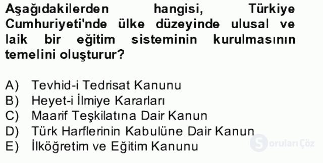 Türk Eğitim Tarihi Bahar Final 8. Soru
