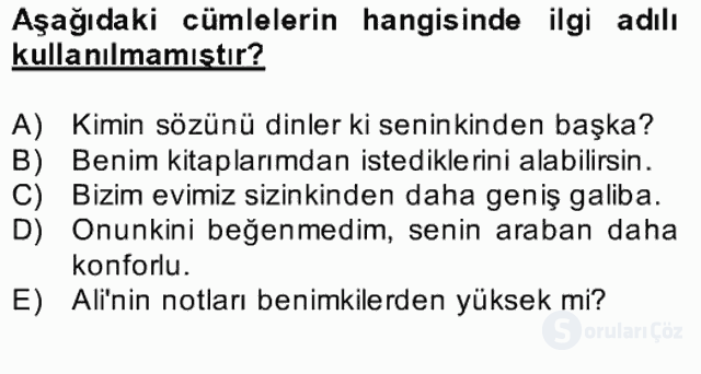 Türkçe Biçim Bilgisi Bahar Final 10. Soru