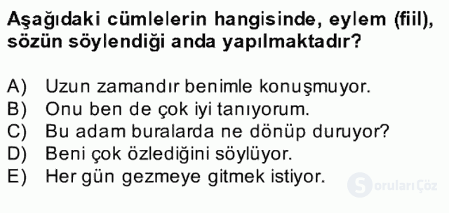 Türkçe Biçim Bilgisi Bahar Final 16. Soru