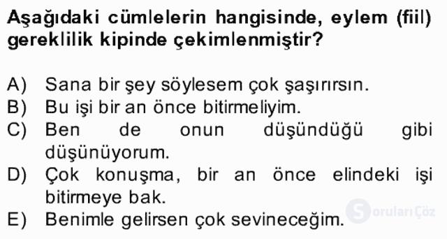 Türkçe Biçim Bilgisi Bahar Final 17. Soru