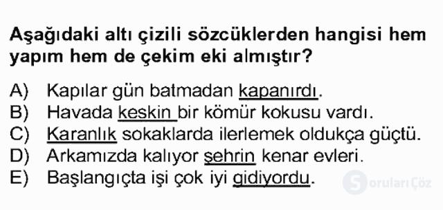 Türkçe Biçim Bilgisi Bahar Final 2. Soru