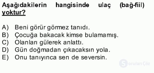 Türkçe Biçim Bilgisi Bahar Final 20. Soru