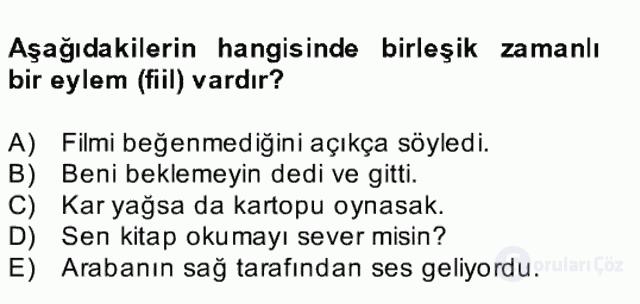Türkçe Biçim Bilgisi Bahar Final 22. Soru