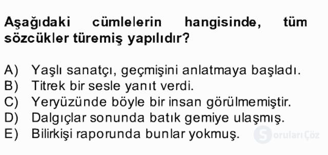 Türkçe Biçim Bilgisi Bahar Final 24. Soru
