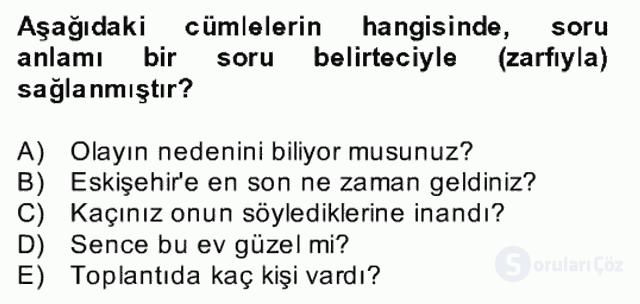 Türkçe Biçim Bilgisi Bahar Final 25. Soru