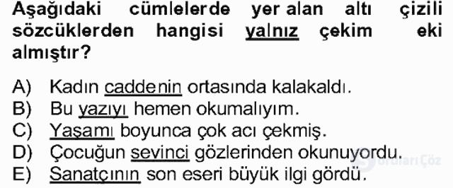 Türkçe Biçim Bilgisi Bahar Final 26. Soru