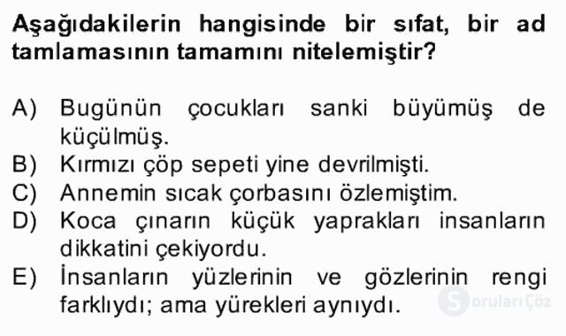 Türkçe Biçim Bilgisi Bahar Final 3. Soru