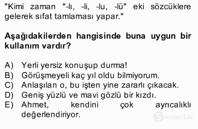 Türkçe Biçim Bilgisi Bahar Final 5. Soru