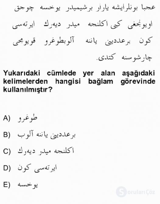 Osmanlı Türkçesine Giriş II Bahar Final 10. Soru