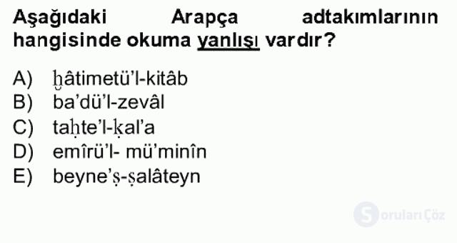 Osmanlı Türkçesine Giriş II Bahar Final 18. Soru