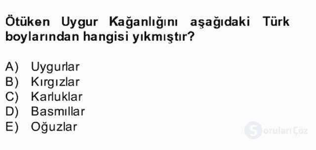 Uygur Türkçesi Bahar Final 1. Soru