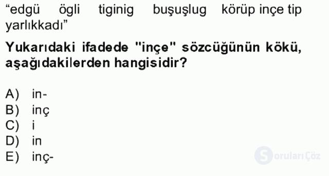 Uygur Türkçesi Bahar Final 10. Soru