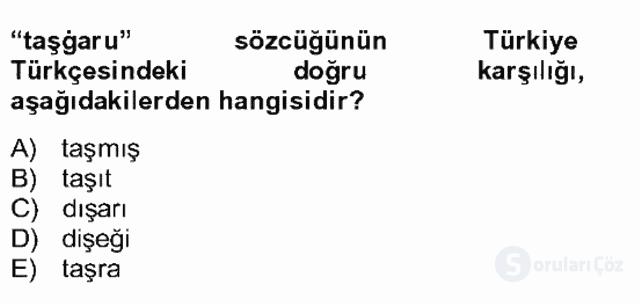 Uygur Türkçesi Bahar Final 11. Soru