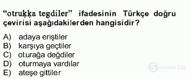 Uygur Türkçesi Bahar Final 18. Soru