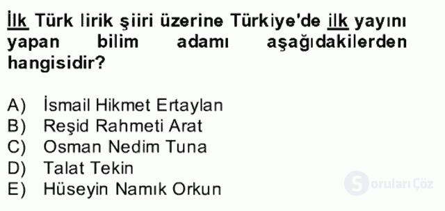 Uygur Türkçesi Bahar Final 25. Soru