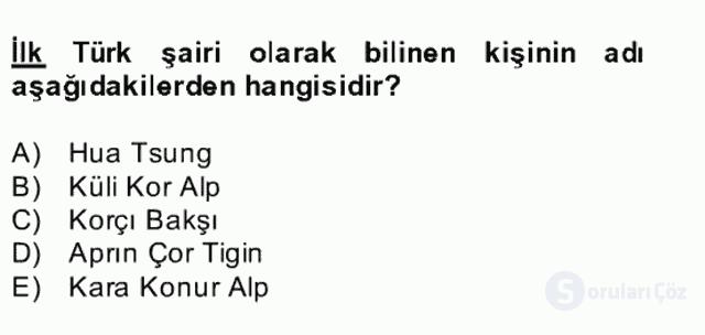 Uygur Türkçesi Bahar Final 26. Soru