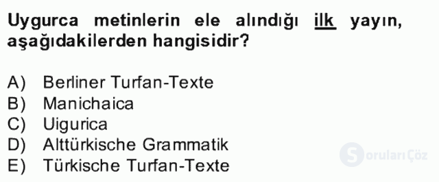 Uygur Türkçesi Bahar Final 3. Soru