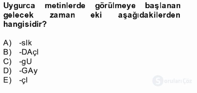 Uygur Türkçesi Bahar Final 4. Soru