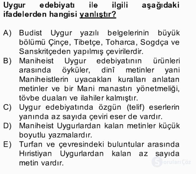 Uygur Türkçesi Bahar Final 5. Soru