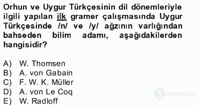 Uygur Türkçesi Bahar Final 6. Soru