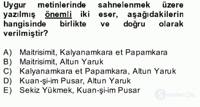 Uygur Türkçesi Bahar Final 7. Soru