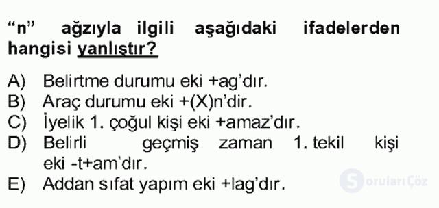 Uygur Türkçesi Bahar Final 8. Soru