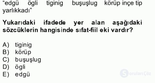 Uygur Türkçesi Bahar Final 9. Soru
