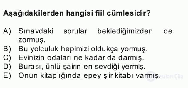 Türkçe Cümle Bilgisi II Bahar Final 10. Soru