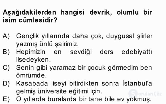 Türkçe Cümle Bilgisi II Bahar Final 12. Soru