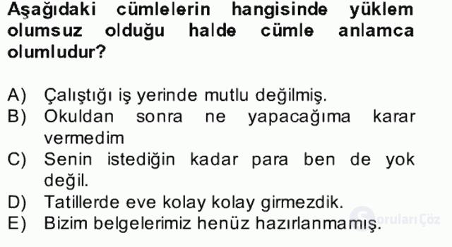 Türkçe Cümle Bilgisi II Bahar Final 13. Soru