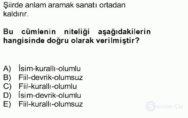 Türkçe Cümle Bilgisi II Bahar Final 14. Soru