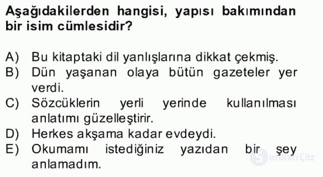Türkçe Cümle Bilgisi II Bahar Final 15. Soru