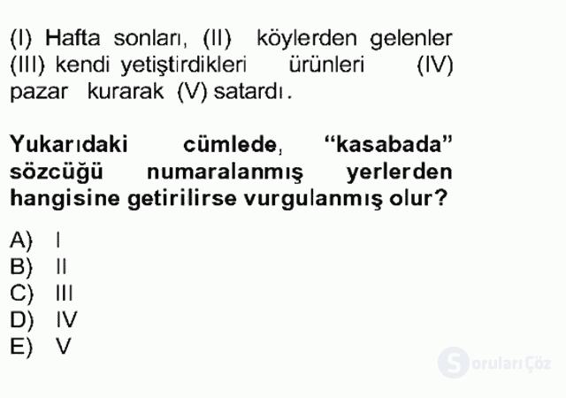 Türkçe Cümle Bilgisi II Bahar Final 16. Soru