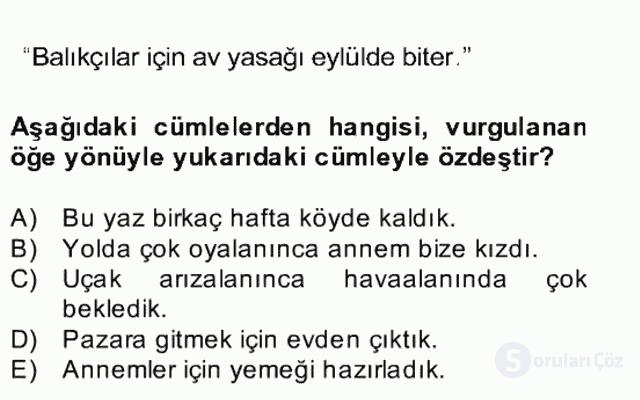 Türkçe Cümle Bilgisi II Bahar Final 18. Soru