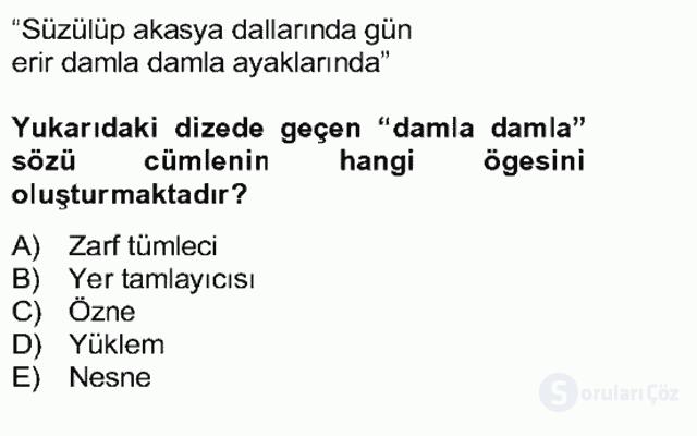 Türkçe Cümle Bilgisi II Bahar Final 19. Soru