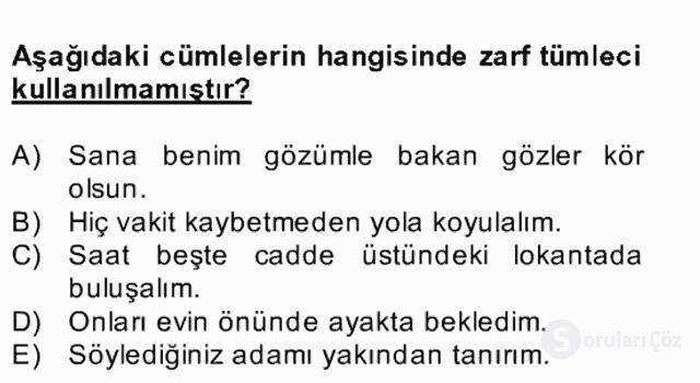 Türkçe Cümle Bilgisi II Bahar Final 2. Soru