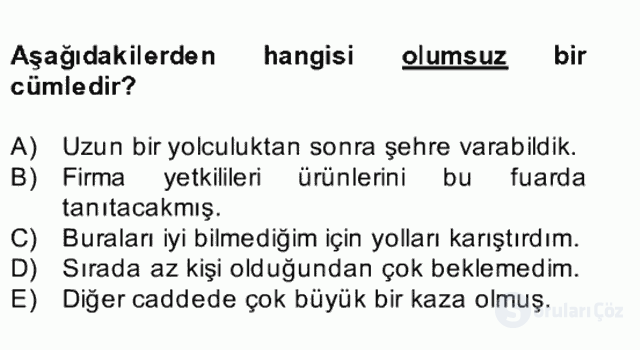 Türkçe Cümle Bilgisi II Bahar Final 20. Soru