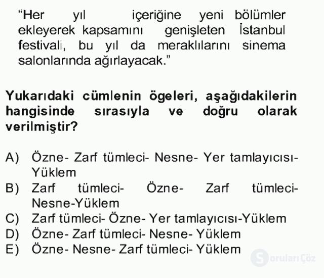 Türkçe Cümle Bilgisi II Bahar Final 23. Soru