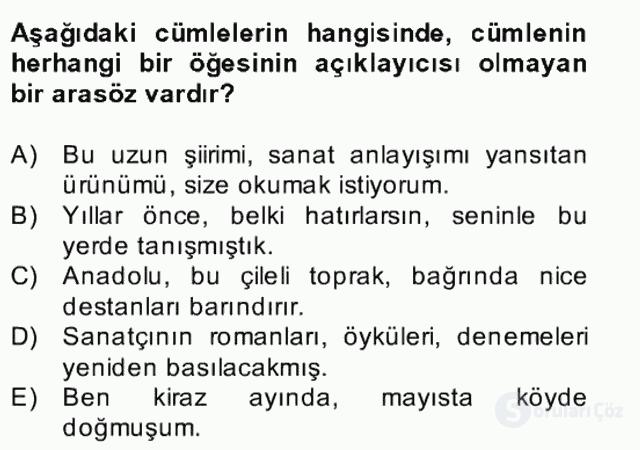 Türkçe Cümle Bilgisi II Bahar Final 24. Soru
