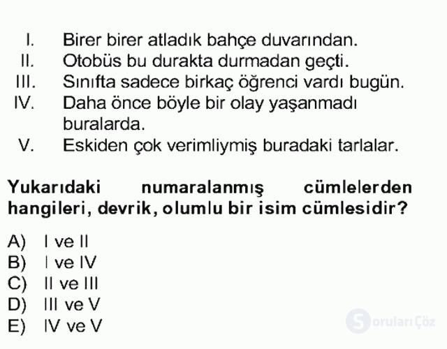 Türkçe Cümle Bilgisi II Bahar Final 25. Soru