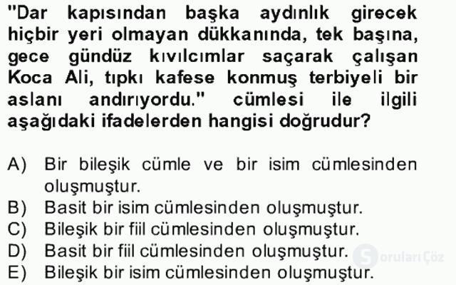 Türkçe Cümle Bilgisi II Bahar Final 26. Soru