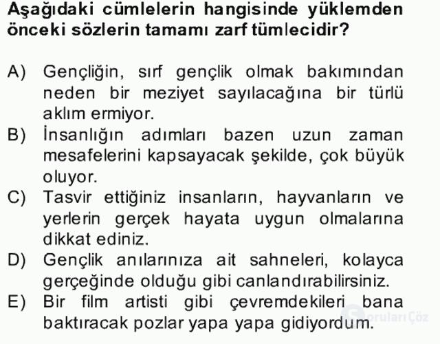 Türkçe Cümle Bilgisi II Bahar Final 3. Soru