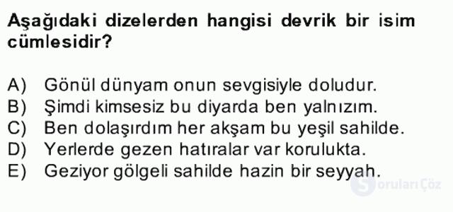 Türkçe Cümle Bilgisi II Bahar Final 4. Soru