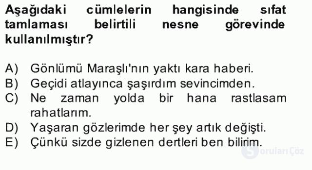 Türkçe Cümle Bilgisi II Bahar Final 5. Soru