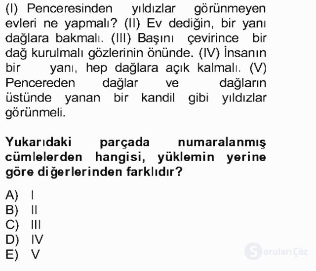 Türkçe Cümle Bilgisi II Bahar Final 7. Soru