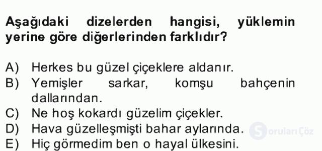 Türkçe Cümle Bilgisi II Bahar Final 8. Soru