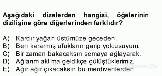 Türkçe Cümle Bilgisi II Bahar Final 9. Soru