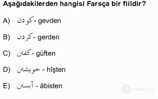 Osmanlı Türkçesi Grameri II Bahar Final 1. Soru