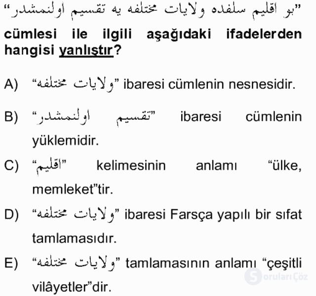 Osmanlı Türkçesi Grameri II Bahar Final 12. Soru